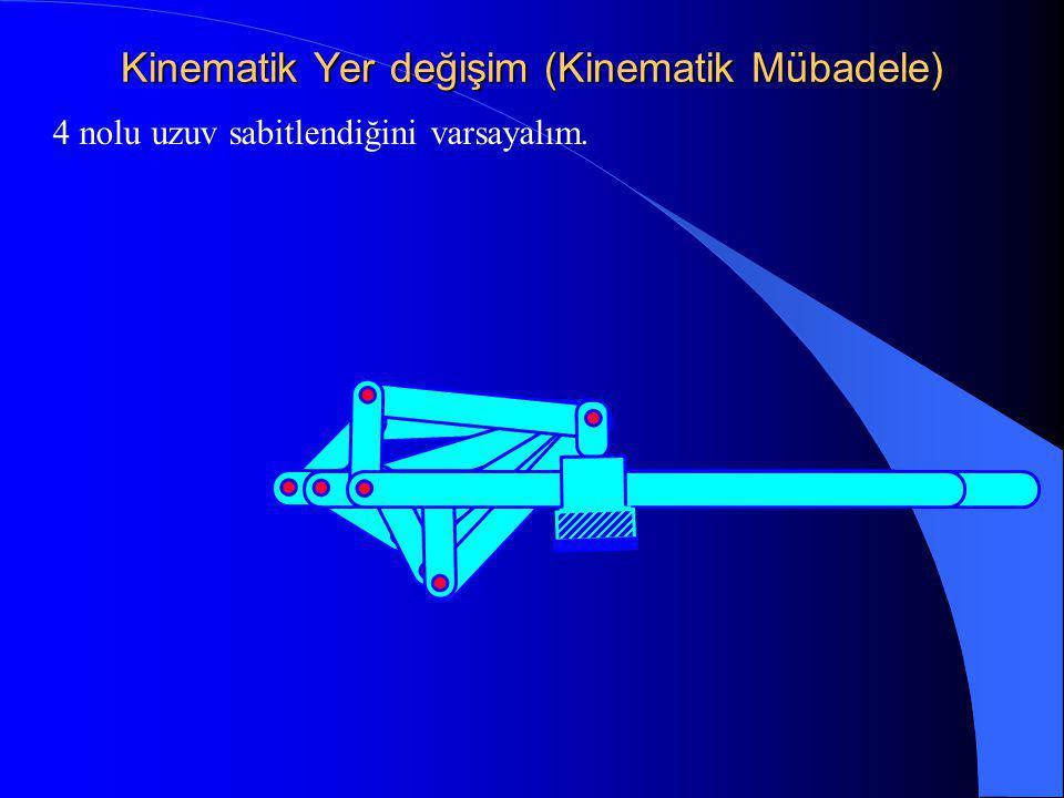 Kinematik Yer değişim (Kinematik Mübadele) 4 nolu uzuv sabitlendiğini varsayalım.