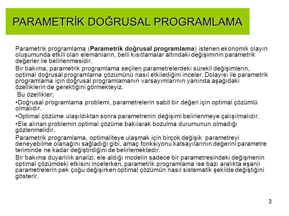 3 Parametrik programlama (Parametrik doğrusal programlama) istenen ekonomik olayın oluşumunda etkili olan elemanların, belli kısıtlamalar altındaki de