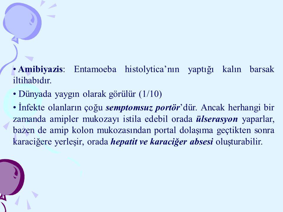 Amibiyazis: Entamoeba histolytica'nın yaptığı kalın barsak iltihabıdır. Dünyada yaygın olarak görülür (1/10) İnfekte olanların çoğu semptomsuz portör'
