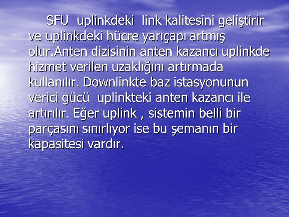 SFU uplinkdeki link kalitesini geliştirir ve uplinkdeki hücre yarıçapı artmış olur.Anten dizisinin anten kazancı uplinkde hizmet verilen uzaklığını ar