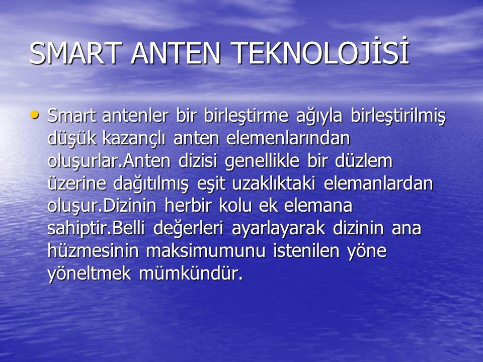 SMART ANTEN TEKNOLOJİSİ Smart antenler bir birleştirme ağıyla birleştirilmiş düşük kazançlı anten elemenlarından oluşurlar.Anten dizisi genellikle bir
