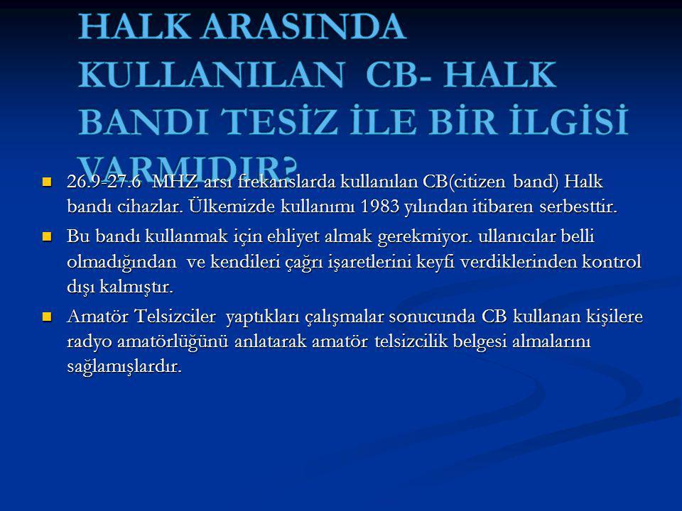 26.9-27.6 MHZ arsı frekanslarda kullanılan CB(citizen band) Halk bandı cihazlar.