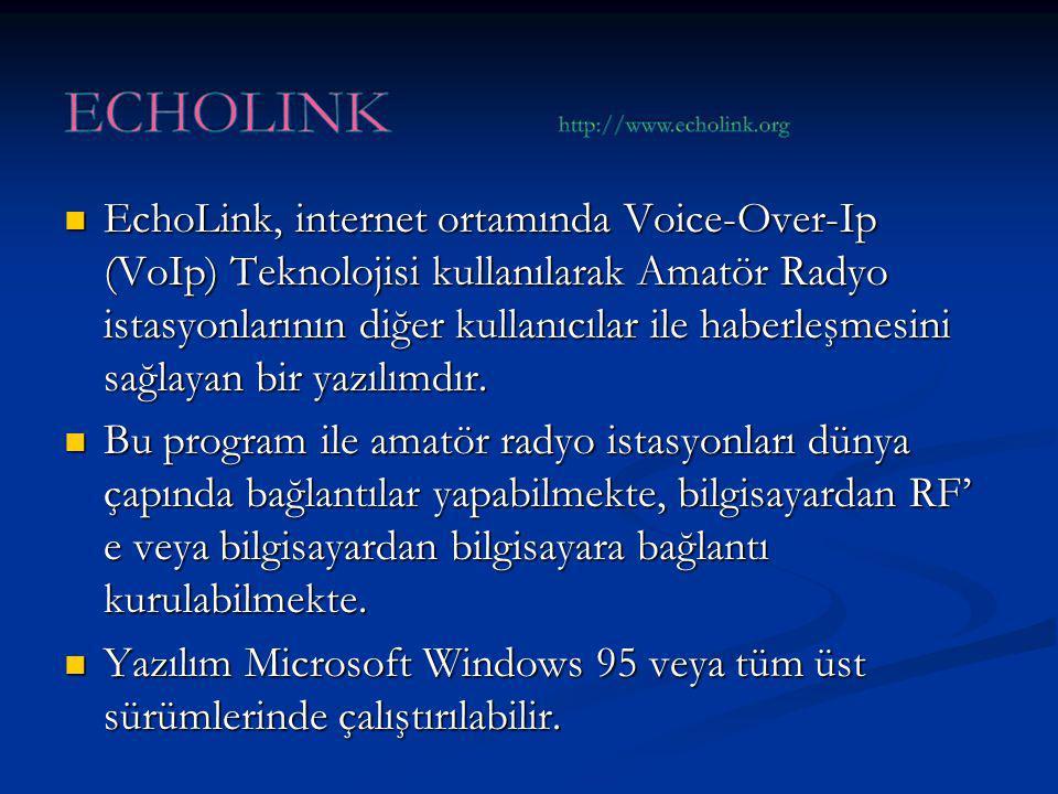 EchoLink, internet ortamında Voice-Over-Ip (VoIp) Teknolojisi kullanılarak Amatör Radyo istasyonlarının diğer kullanıcılar ile haberleşmesini sağlayan bir yazılımdır.