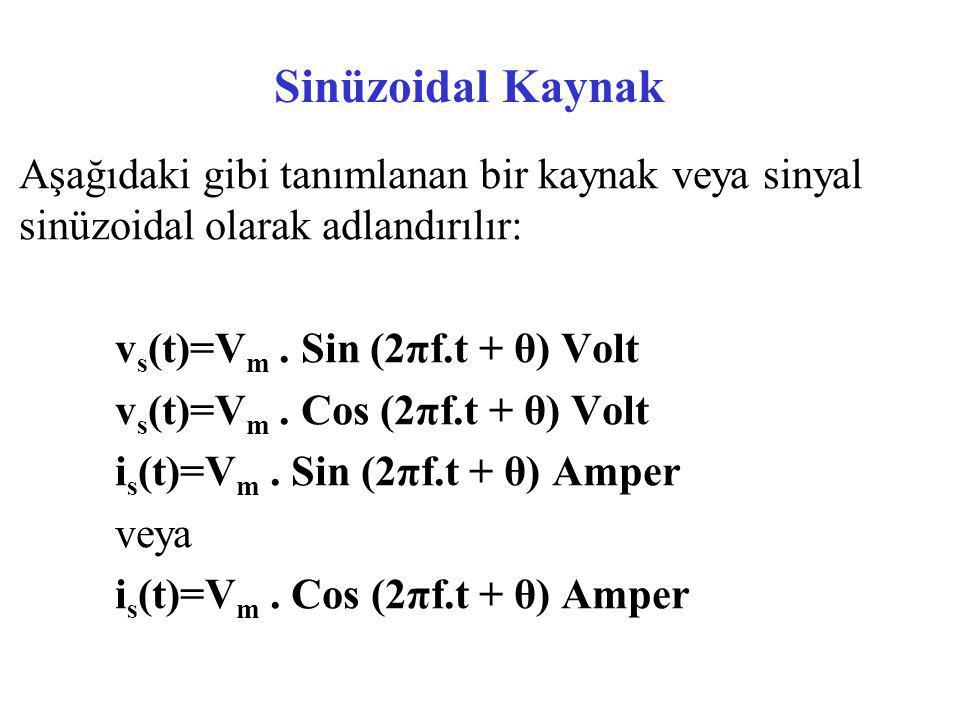 Sinüzoidal Kaynak Aşağıdaki gibi tanımlanan bir kaynak veya sinyal sinüzoidal olarak adlandırılır: v s (t)=V m. Sin (2πf.t + θ) Volt v s (t)=V m. Cos