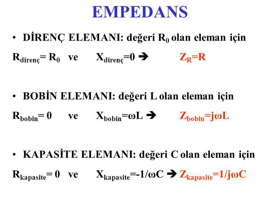 EMPEDANS DİRENÇ ELEMANI: değeri R 0 olan eleman için R direnç = R 0 veX direnç =0  Z R =R BOBİN ELEMANI: değeri L olan eleman için R bobin = 0veX bobin =ωL  Z bobin =jωL KAPASİTE ELEMANI: değeri C olan eleman için R kapasite = 0veX kapasite =-1/ωC  Z kapasite =1/jωC