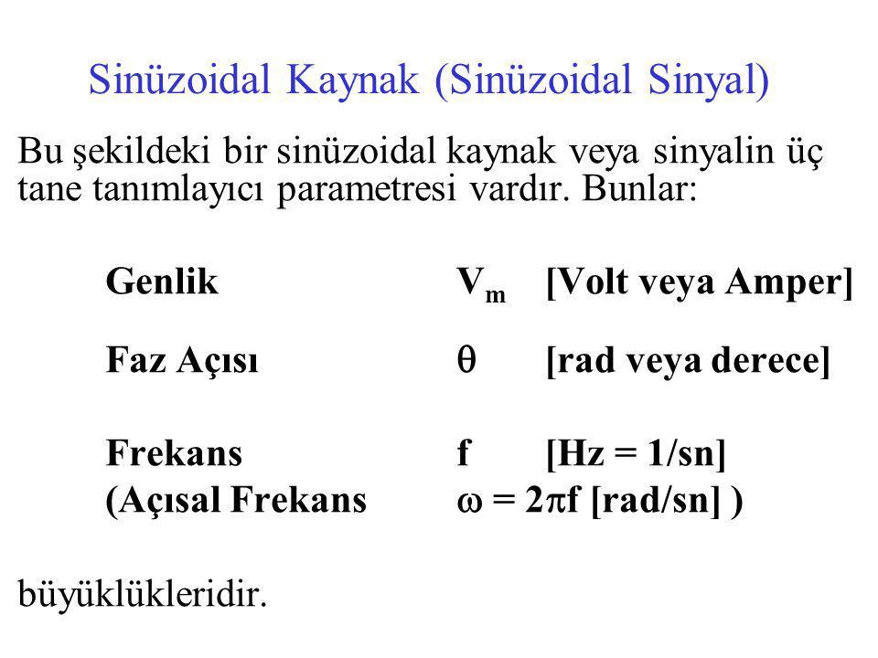 Sinüzoidal Kaynak (Sinüzoidal Sinyal) Bu şekildeki bir sinüzoidal kaynak veya sinyalin üç tane tanımlayıcı parametresi vardır.