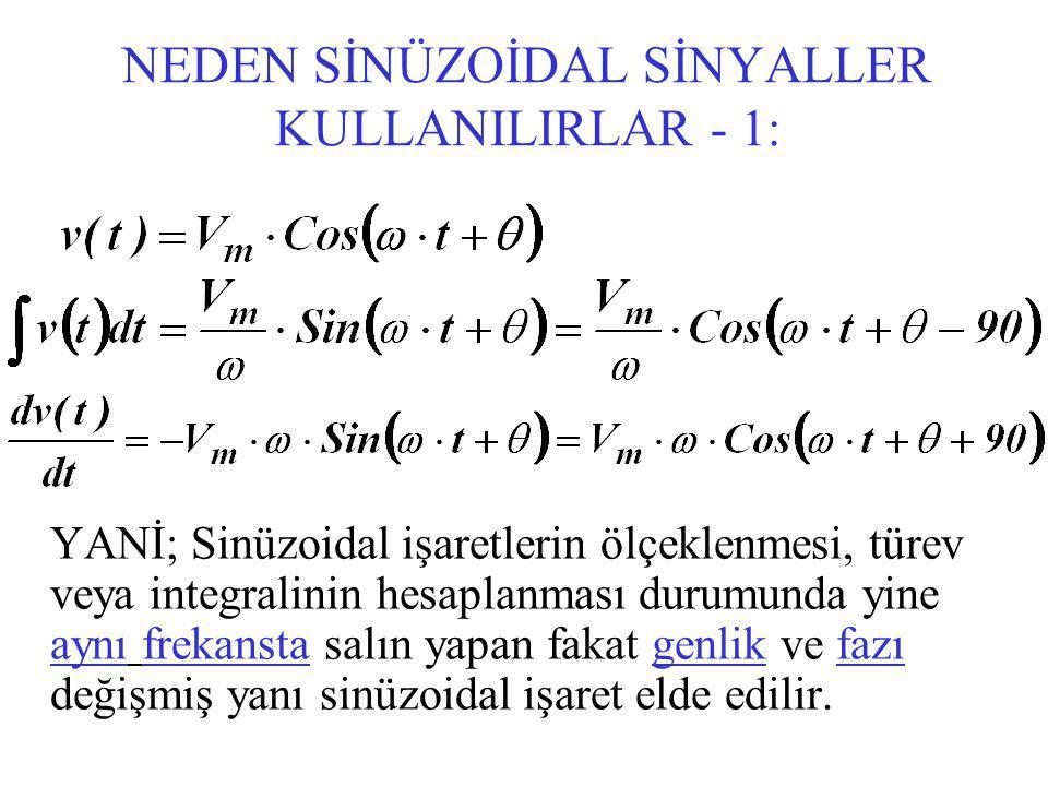 NEDEN SİNÜZOİDAL SİNYALLER KULLANILIRLAR - 1: YANİ; Sinüzoidal işaretlerin ölçeklenmesi, türev veya integralinin hesaplanması durumunda yine aynı frekansta salın yapan fakat genlik ve fazı değişmiş yanı sinüzoidal işaret elde edilir.