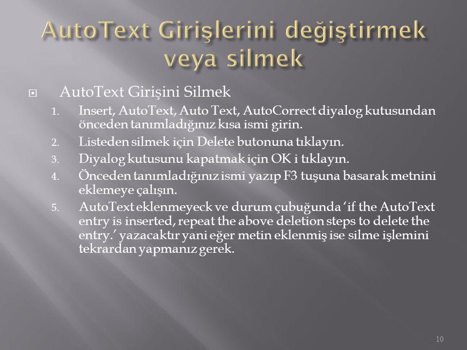  AutoText Girişini Silmek 1. Insert, AutoText, Auto Text, AutoCorrect diyalog kutusundan önceden tanımladığınız kısa ismi girin. 2. Listeden silmek i