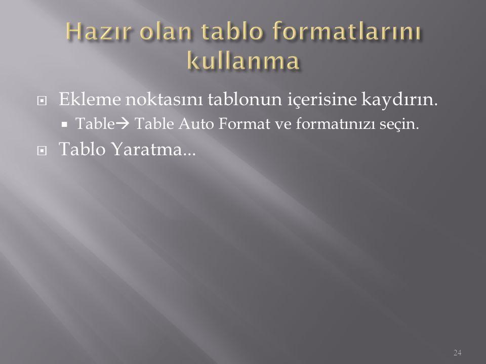  Ekleme noktasını tablonun içerisine kaydırın.  Table  Table Auto Format ve formatınızı seçin.  Tablo Yaratma... 24