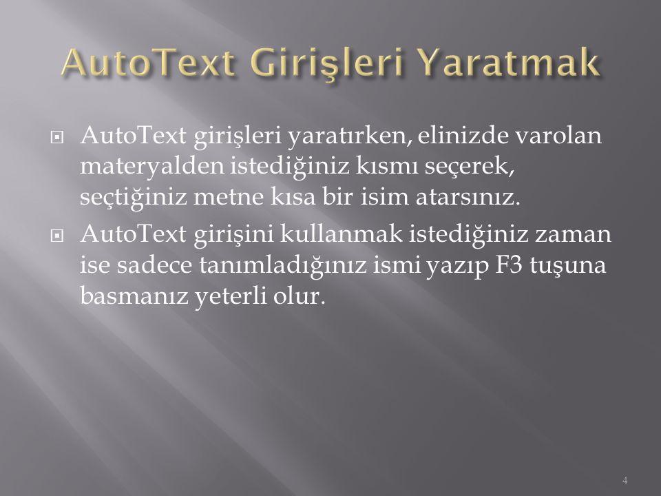  AutoText girişi yaratmak için 1.Yeni bir Word penceresi açın.