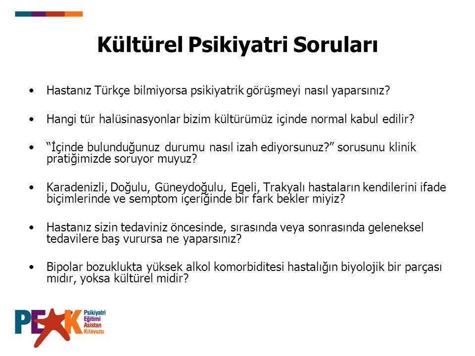 Kültürel Psikiyatri Soruları Hastanız Türkçe bilmiyorsa psikiyatrik görüşmeyi nasıl yaparsınız? Hangi tür halüsinasyonlar bizim kültürümüz içinde norm