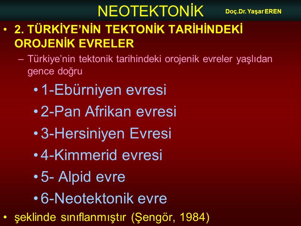 NEOTEKTONİK Doç.Dr. Yaşar EREN 2. TÜRKİYE'NİN TEKTONİK TARİHİNDEKİ OROJENİK EVRELER –Türkiye'nin tektonik tarihindeki orojenik evreler yaşlıdan gence
