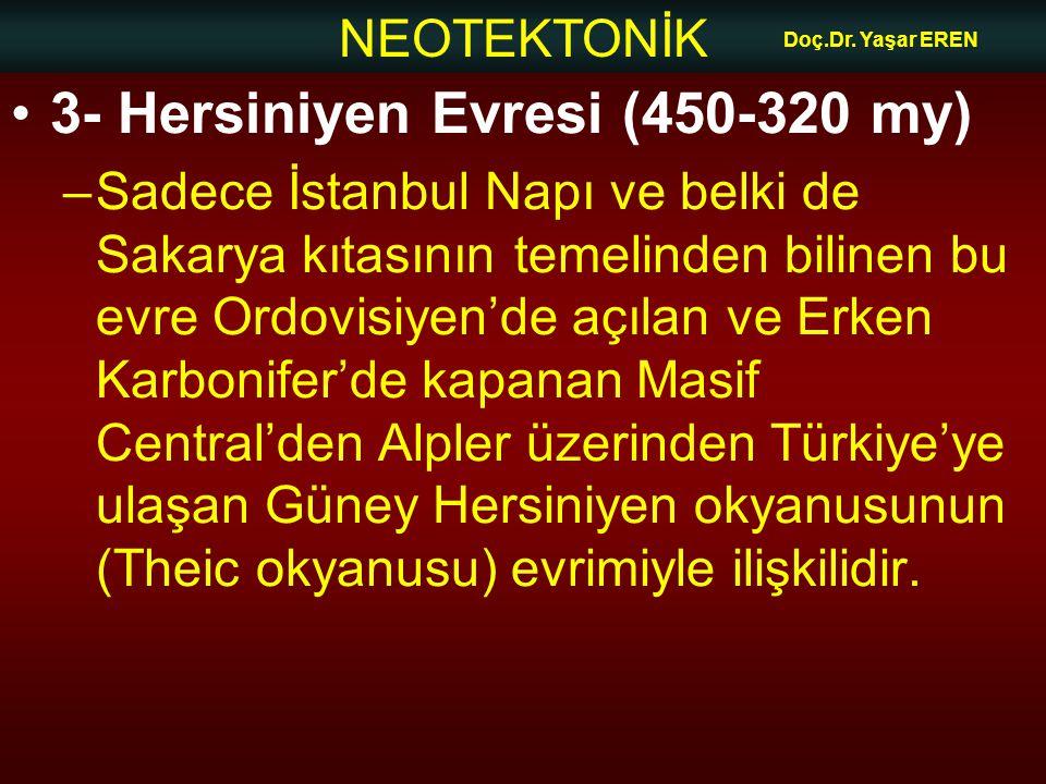 NEOTEKTONİK Doç.Dr. Yaşar EREN 3- Hersiniyen Evresi (450-320 my) –Sadece İstanbul Napı ve belki de Sakarya kıtasının temelinden bilinen bu evre Ordovi
