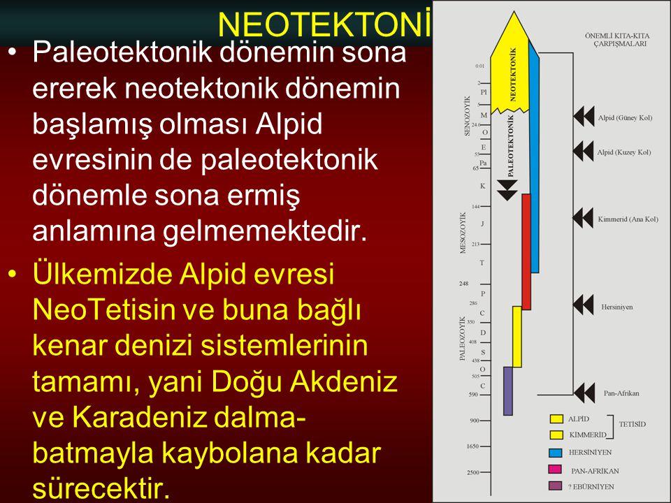 NEOTEKTONİK Doç.Dr. Yaşar EREN Paleotektonik dönemin sona ererek neotektonik dönemin başlamış olması Alpid evresinin de paleotektonik dönemle sona erm