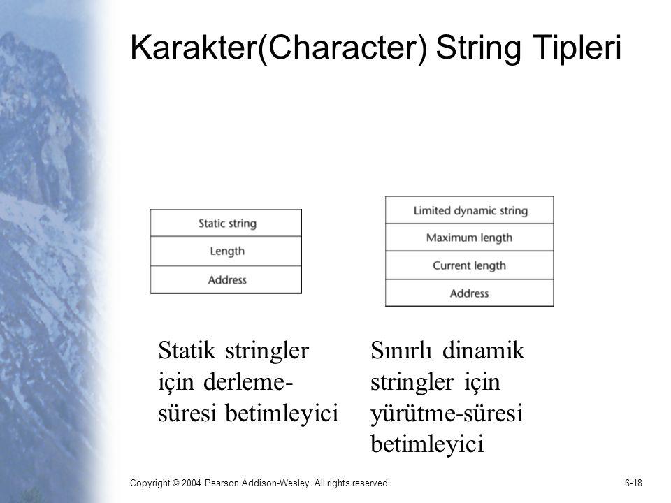 Copyright © 2004 Pearson Addison-Wesley. All rights reserved.6-18 Karakter(Character) String Tipleri Statik stringler için derleme- süresi betimleyici