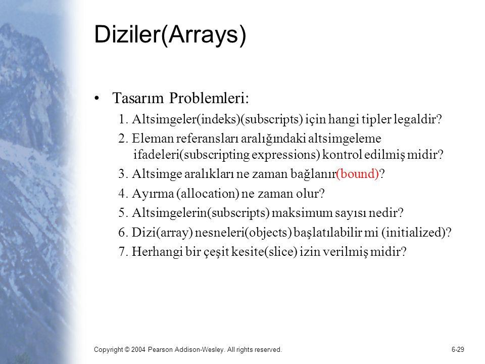 Copyright © 2004 Pearson Addison-Wesley. All rights reserved.6-29 Diziler(Arrays) Tasarım Problemleri: 1. Altsimgeler(indeks)(subscripts) için hangi t
