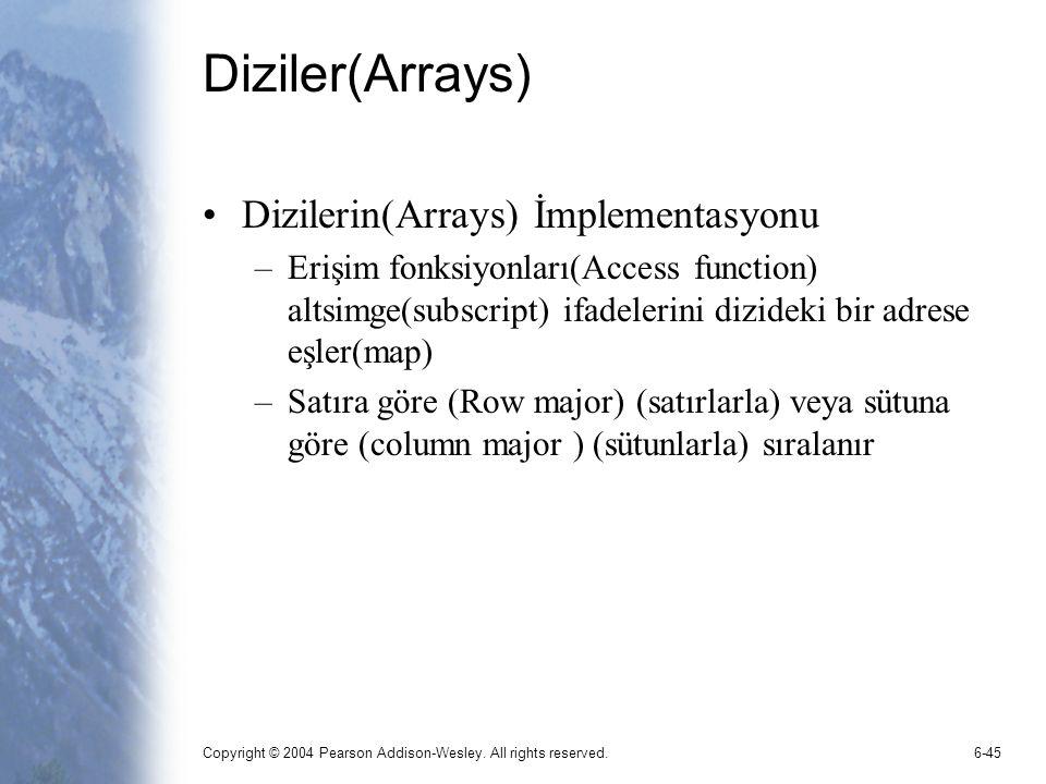 Copyright © 2004 Pearson Addison-Wesley. All rights reserved.6-45 Diziler(Arrays) Dizilerin(Arrays) İmplementasyonu –Erişim fonksiyonları(Access funct