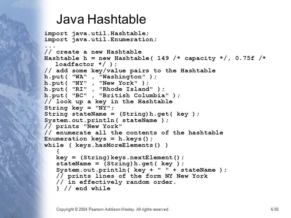 Copyright © 2004 Pearson Addison-Wesley. All rights reserved.6-50 Java Hashtable import java.util.Hashtable; import java.util.Enumeration;... // creat