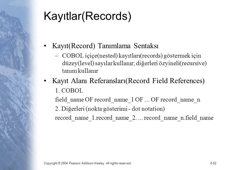 Copyright © 2004 Pearson Addison-Wesley. All rights reserved.6-52 Kayıtlar(Records) Kayıt(Record) Tanımlama Sentaksı –COBOL içiçe(nested) kayıtları(re