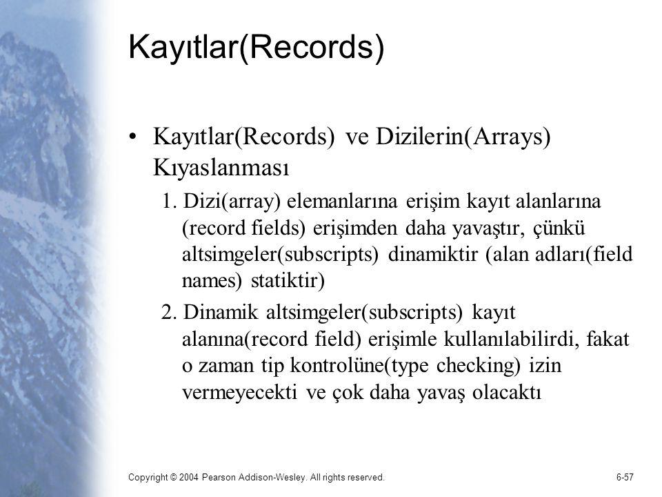 Copyright © 2004 Pearson Addison-Wesley. All rights reserved.6-57 Kayıtlar(Records) Kayıtlar(Records) ve Dizilerin(Arrays) Kıyaslanması 1. Dizi(array)