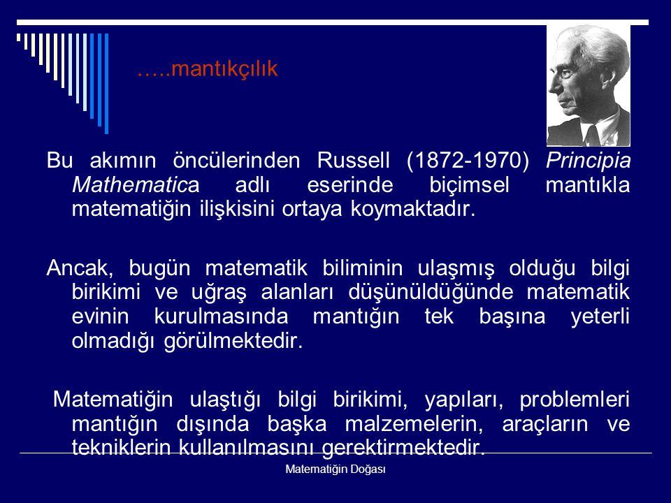Matematiğin Doğası Bu akımın öncülerinden Russell (1872-1970) Principia Mathematica adlı eserinde biçimsel mantıkla matematiğin ilişkisini ortaya koym