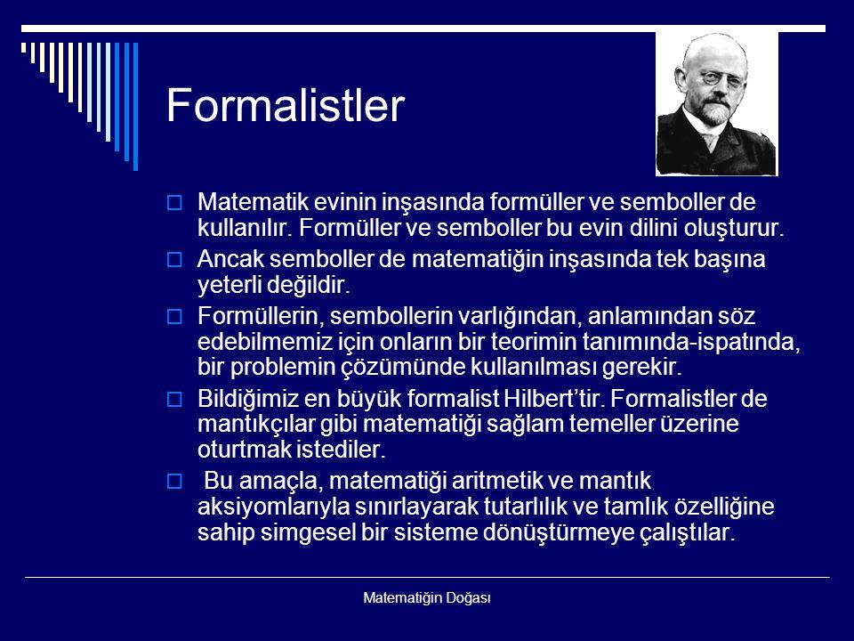Matematiğin Doğası Formalistler  Matematik evinin inşasında formüller ve semboller de kullanılır. Formüller ve semboller bu evin dilini oluşturur. 
