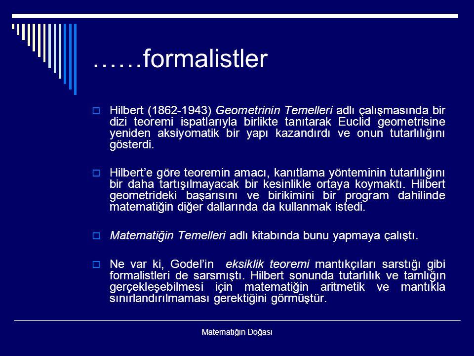 Matematiğin Doğası ……formalistler  Hilbert (1862-1943) Geometrinin Temelleri adlı çalışmasında bir dizi teoremi ispatlarıyla birlikte tanıtarak Eucli