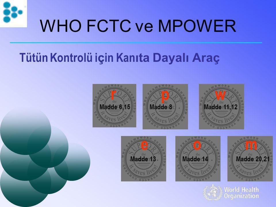 WHO FCTC ve MPOWER Tütün Kontrolü i ç in Kan ıta Dayalı Araç Madde 6,15Madde 11,12Madde 8 Madde 14Madde 20,21Madde 13 r pw eom