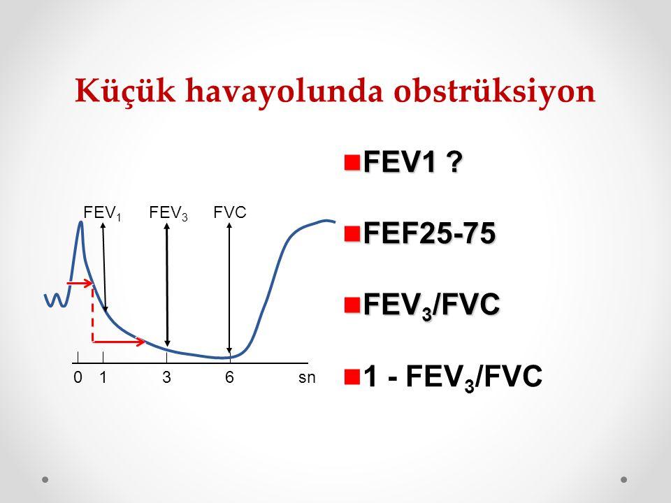 FEV1 ? FEV1 ? FEF25-75 FEF25-75 FEV 3 /FVC FEV 3 /FVC 1 - FEV 3 /FVC Küçük havayolunda obstrüksiyon FEV 1 FVC FEV 3 01 36sn