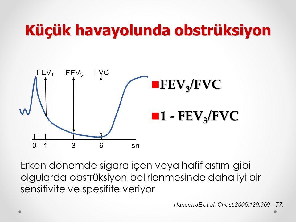 FEV 3 /FVC FEV 3 /FVC 1 - FEV 3 /FVC 1 - FEV 3 /FVC Küçük havayolunda obstrüksiyon FEV 1 FVC FEV 3 01 36sn Hansen JE et al. Chest.2006;129:369 – 77. E