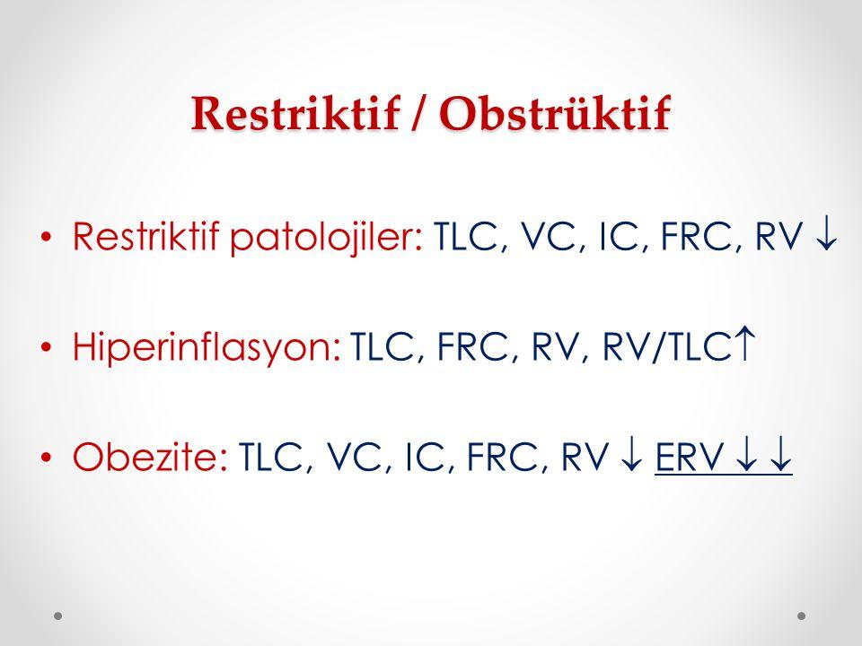 Restriktif / Obstrüktif Restriktif patolojiler: TLC, VC, IC, FRC, RV  Hiperinflasyon: TLC, FRC, RV, RV/TLC  Obezite: TLC, VC, IC, FRC, RV  ERV  