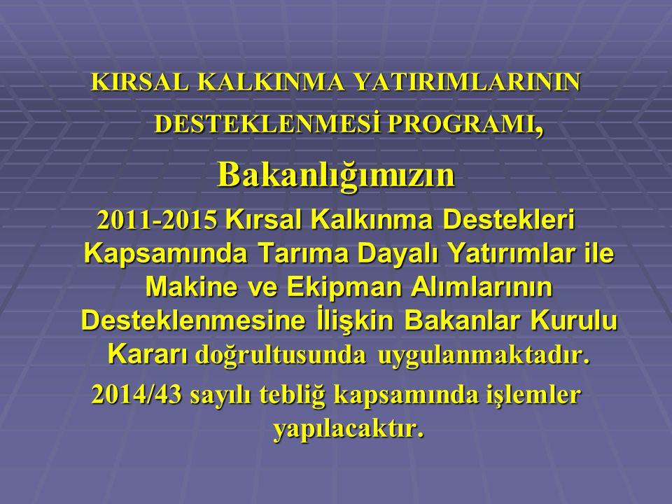 KIRSAL KALKINMA YATIRIMLARININ DESTEKLENMESİ PROGRAMI, Bakanlığımızın 2011-2015 Kırsal Kalkınma Destekleri Kapsamında Tarıma Dayalı Yatırımlar ile Mak