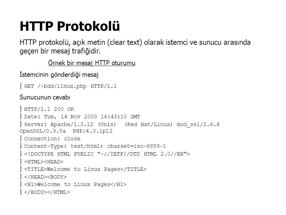 HTTP Protokolü HTTP protokolü, açık metin (clear text) olarak istemci ve sunucu arasında geçen bir mesaj trafiğidir. Örnek bir mesaj HTTP oturumu İste