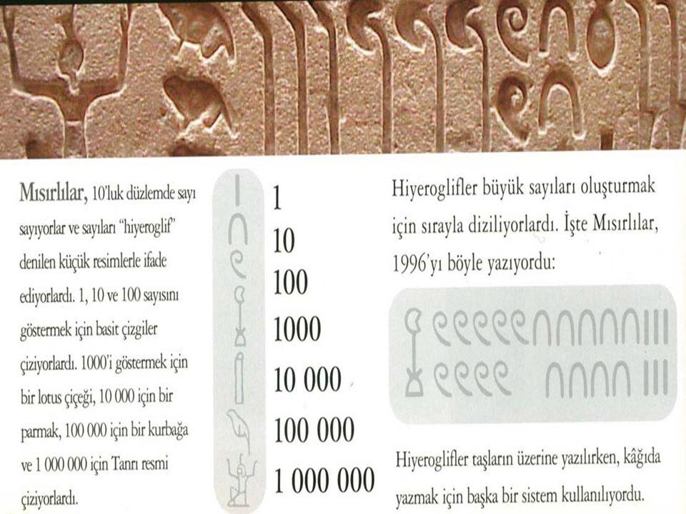  Mısır sayıları ile toplama çıkarma yapmak kolaydı, ama çarpma yapmak çok zordu.Bu sorunu aşmak için Mısırlılar çarpma işlemlerinde,çiftleme metodunu kullandılar.