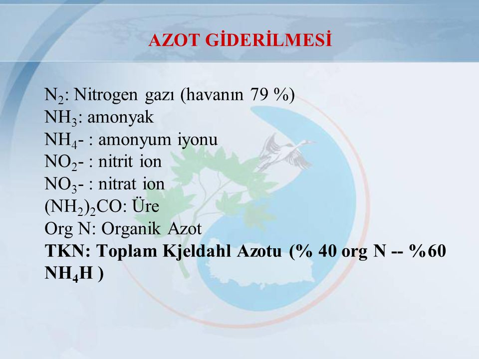 N 2 : Nitrogen gazı (havanın 79 %) NH 3 : amonyak NH 4 - : amonyum iyonu NO 2 - : nitrit ion NO 3 - : nitrat ion (NH 2 ) 2 CO: Üre Org N: Organik Azot