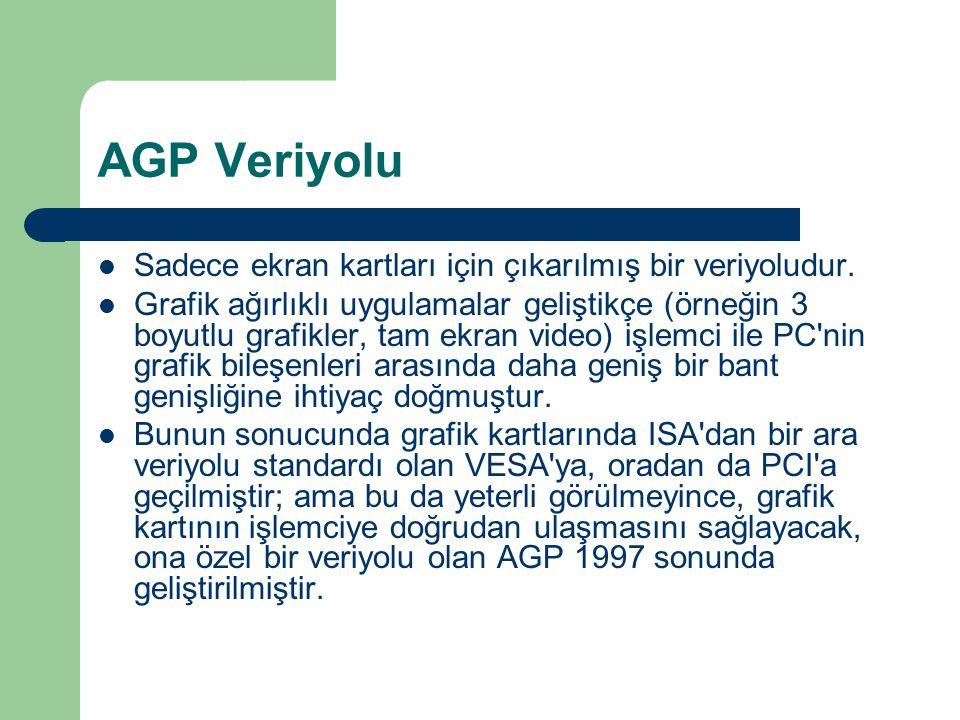 AGP Veriyolu Sadece ekran kartları için çıkarılmış bir veriyoludur.