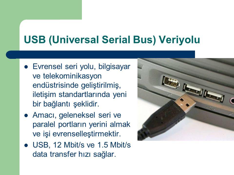 USB (Universal Serial Bus) Veriyolu Evrensel seri yolu, bilgisayar ve telekominikasyon endüstrisinde geliştirilmiş, iletişim standartlarında yeni bir bağlantı şeklidir.
