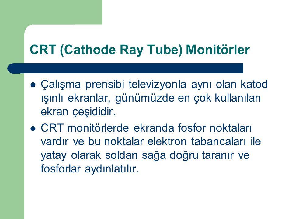 CRT (Cathode Ray Tube) Monitörler Çalışma prensibi televizyonla aynı olan katod ışınlı ekranlar, günümüzde en çok kullanılan ekran çeşididir.