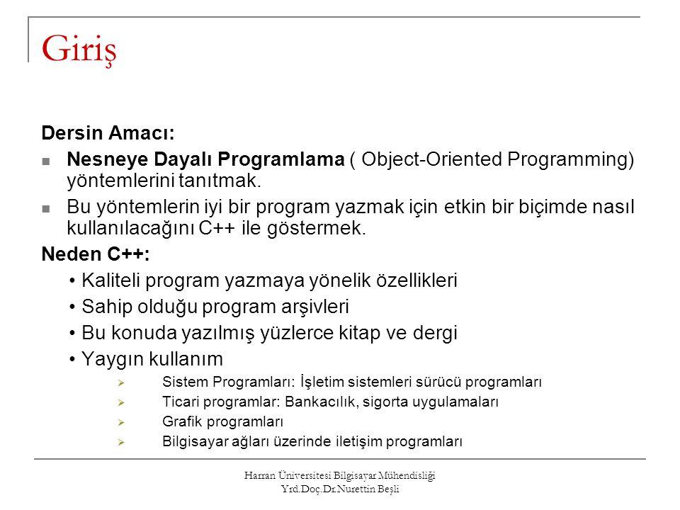 Harran Üniversitesi Bilgisayar Mühendisliği Yrd.Doç.Dr.Nurettin Beşli Giriş Dersin Amacı: Nesneye Dayalı Programlama ( Object-Oriented Programming) yö