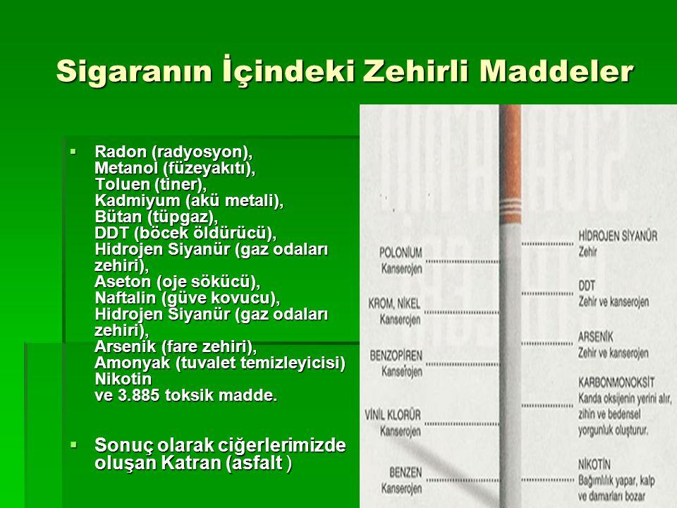 Sigaranın İçindeki Zehirli Maddeler  Radon (radyosyon), Metanol (füzeyakıtı), Toluen (tiner), Kadmiyum (akü metali), Bütan (tüpgaz), DDT (böcek öldürücü), Hidrojen Siyanür (gaz odaları zehiri), Aseton (oje sökücü), Naftalin (güve kovucu), Hidrojen Siyanür (gaz odaları zehiri), Arsenik (fare zehiri), Amonyak (tuvalet temizleyicisi) Nikotin ve 3.885 toksik madde.