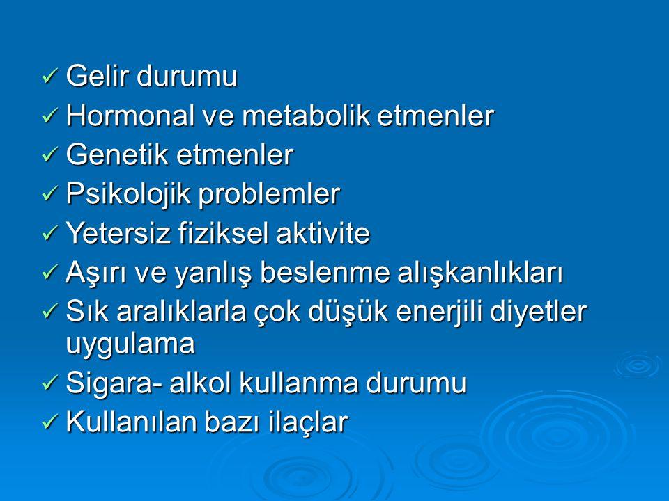 Gelir durumu Gelir durumu Hormonal ve metabolik etmenler Hormonal ve metabolik etmenler Genetik etmenler Genetik etmenler Psikolojik problemler Psikol