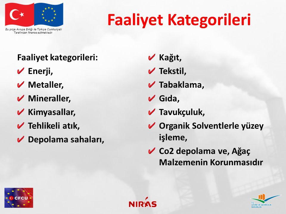 Faaliyet Kategorileri Faaliyet kategorileri: Enerji, Metaller, Mineraller, Kimyasallar, Tehlikeli atık, Depolama sahaları, Kağıt, Tekstil, Tabaklama, Gıda, Tavukçuluk, Organik Solventlerle yüzey işleme, Co2 depolama ve, Ağaç Malzemenin Korunmasıdır Bu proje Avrupa Birliği ile Türkiye Cumhuriyeti Tarafından finanse edilmektedir.