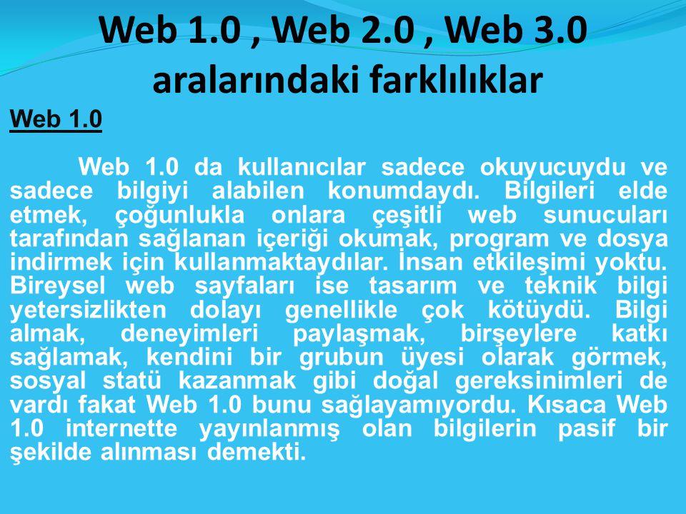 Web 1.0, Web 2.0, Web 3.0 aralarındaki farklılıklar Web 1.0 Web 1.0 da kullanıcılar sadece okuyucuydu ve sadece bilgiyi alabilen konumdaydı.