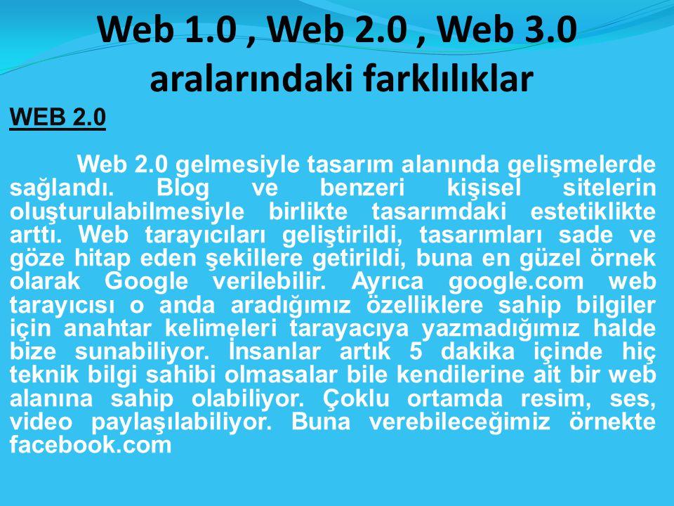 Web 1.0, Web 2.0, Web 3.0 aralarındaki farklılıklar WEB 2.0 Web 2.0 gelmesiyle tasarım alanında gelişmelerde sağlandı.