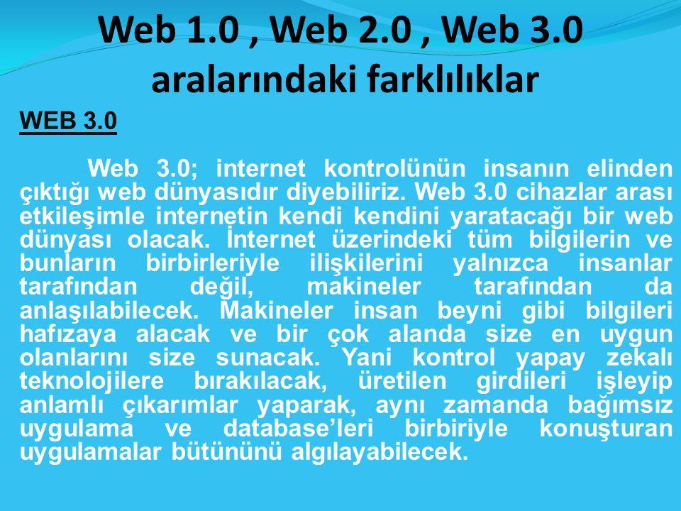 Web 1.0, Web 2.0, Web 3.0 aralarındaki farklılıklar WEB 3.0 Web 3.0; internet kontrolünün insanın elinden çıktığı web dünyasıdır diyebiliriz.