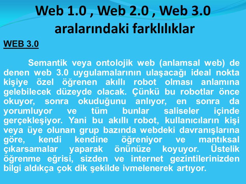 Web 1.0, Web 2.0, Web 3.0 aralarındaki farklılıklar WEB 3.0 Semantik veya ontolojik web (anlamsal web) de denen web 3.0 uygulamalarının ulaşacağı ideal nokta kişiye özel öğrenen akıllı robot olması anlamına gelebilecek düzeyde olacak.
