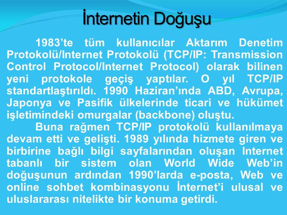1983'te tüm kullanıcılar Aktarım Denetim Protokolü/Internet Protokolü (TCP/IP: Transmission Control Protocol/Internet Protocol) olarak bilinen yeni protokole geçiş yaptılar.