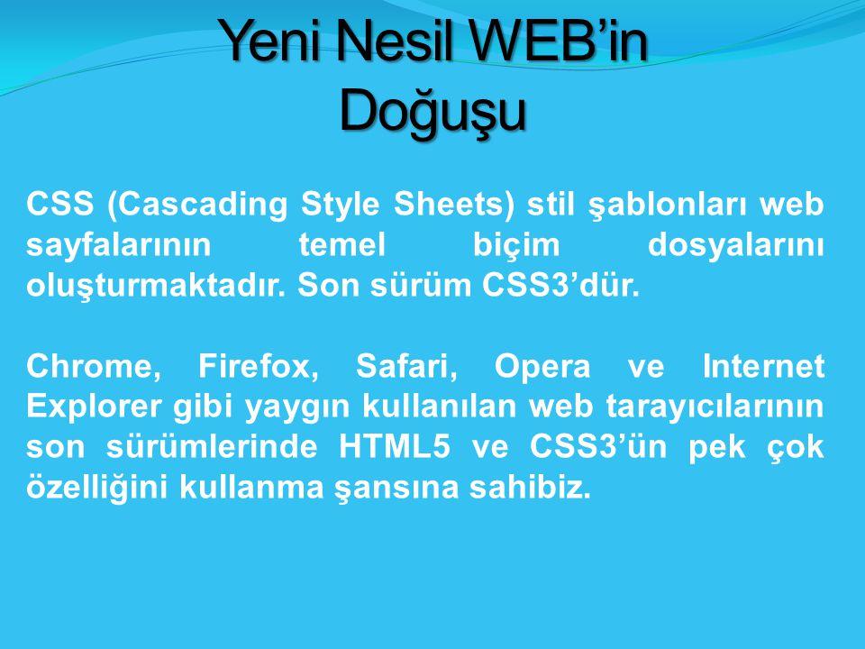 Yeni Nesil WEB'in Doğuşu CSS (Cascading Style Sheets) stil şablonları web sayfalarının temel biçim dosyalarını oluşturmaktadır.
