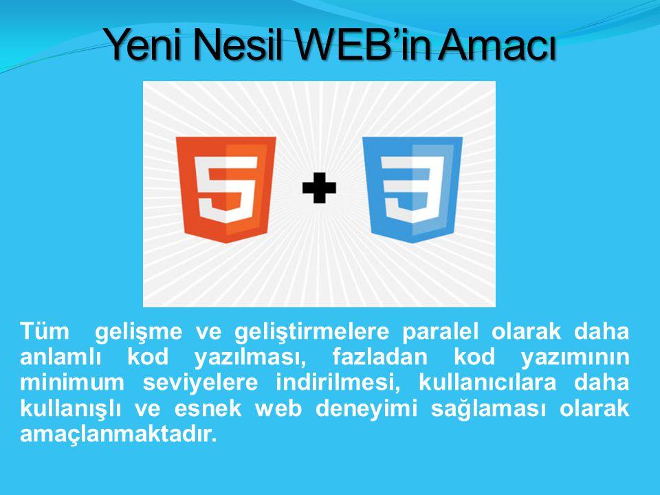 Yeni Nesil WEB'in Amacı Tüm gelişme ve geliştirmelere paralel olarak daha anlamlı kod yazılması, fazladan kod yazımının minimum seviyelere indirilmesi, kullanıcılara daha kullanışlı ve esnek web deneyimi sağlaması olarak amaçlanmaktadır.