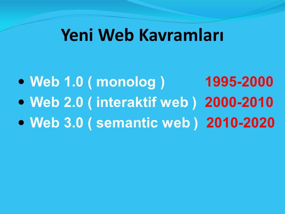 Yeni Web Kavramları Web 1.0 ( monolog ) 1995-2000 Web 2.0 ( interaktif web ) 2000-2010 Web 3.0 ( semantic web ) 2010-2020